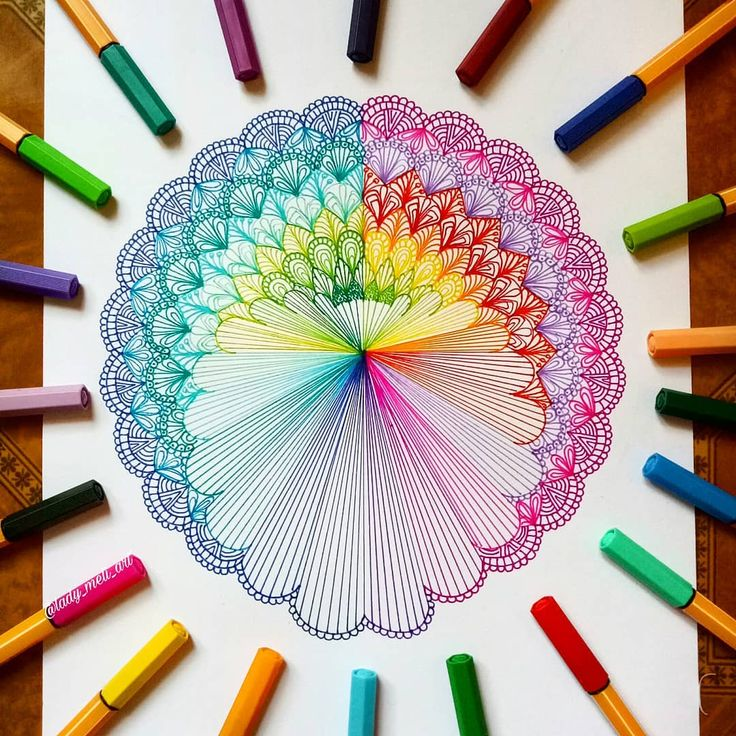 """654 Likes, 30 Comments - Mandalas, Zentangles, Doodles (@lady_meli_art) on Instagram: """"Just another rainbow mandala .. Hope you like it! . . Pens 88 from @stabilo"""""""