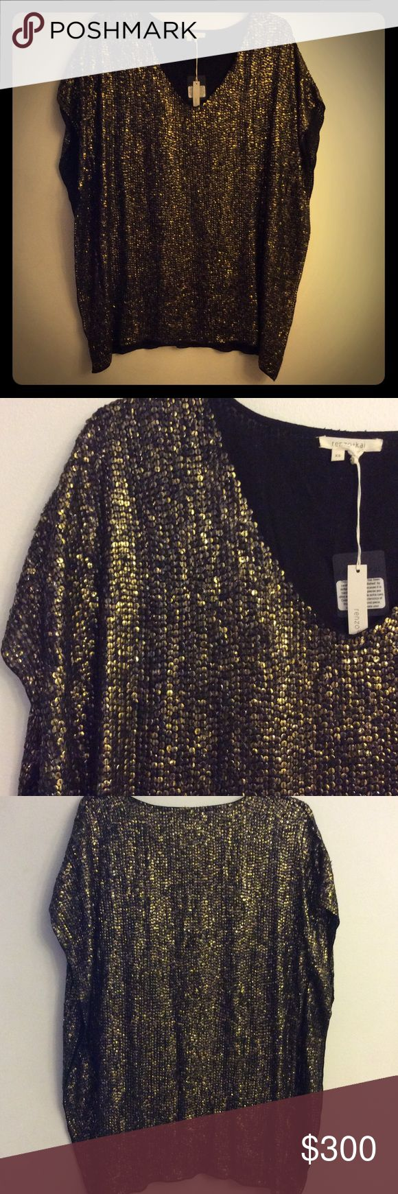 "Renzo+Kai Tunic Blouse/ Mini Dress Gold sparkle sequin batwing sleeve vneck tunic blouse. Tagged XS but runs big oversize and can fit M-L. Wear it as a long tunic shirt or mini dress. 30"" length. Renzo+kai Tops Tunics"