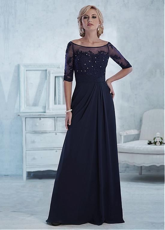 A-line Gown Bateau Neckline Floor-Length Mother Dress with Beeded Lace Appliques