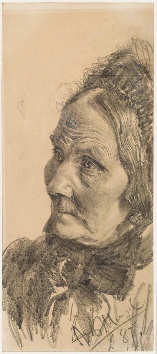 Adolf von Menzel  Bildnis  einer älteren Dame 1887