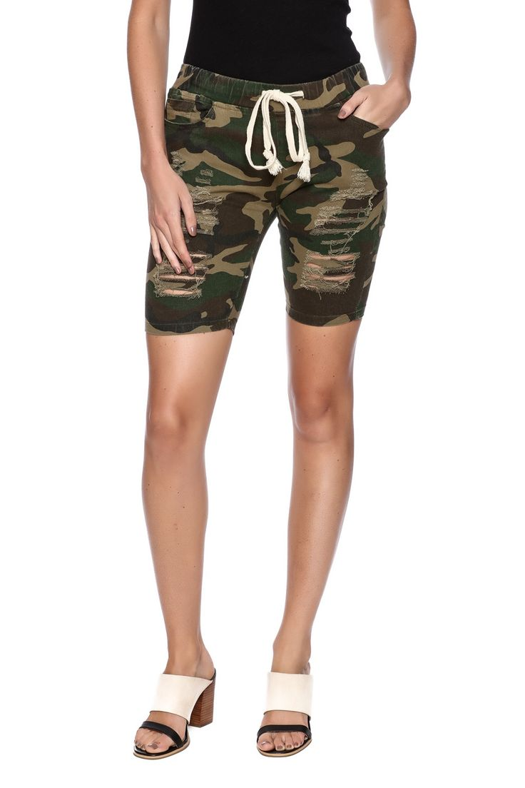Distressed knee length camouflage shorts.    Camouflage Shorts by 36 POINT 5. Clothing - Shorts - Knee Pennsylvania