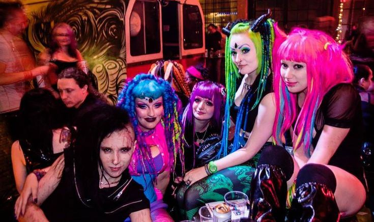 Cyber-goth fashion- Was a combination of rave, rivethead, and goth fashion with some science fiction. they would wear bright colors like neon with black.