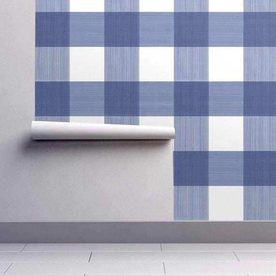 Blue Buffalo Plaid Wallpaper Blue 6 Buffalo Plaid By Etsy Plaid Wallpaper Self Adhesive Wallpaper Blue Buffalo