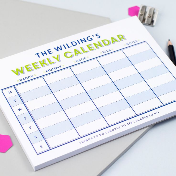 Personalised family weekly calendar notepad | hardtofind.