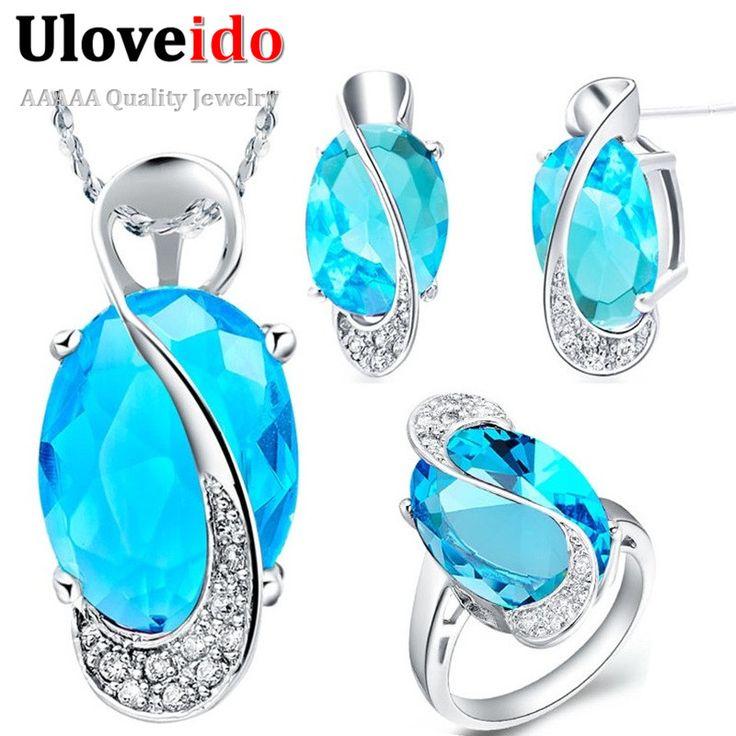 30% de descuento de la boda nupcial sistemas de la joyería de la vendimia brincos anillo aretes collar de cristal azul de la joyería de plata místico uloveido subestación blindada t155