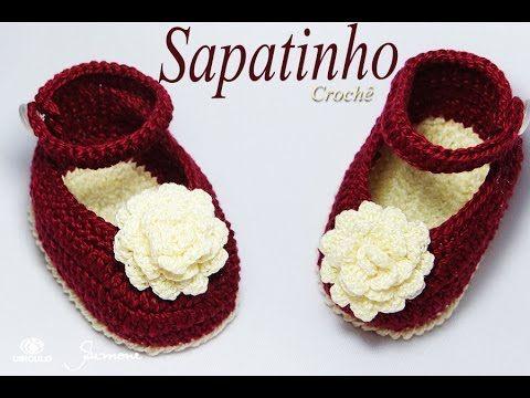 Sapatinho de Crochê Flor | passo a passo | Professora Simone - YouTube