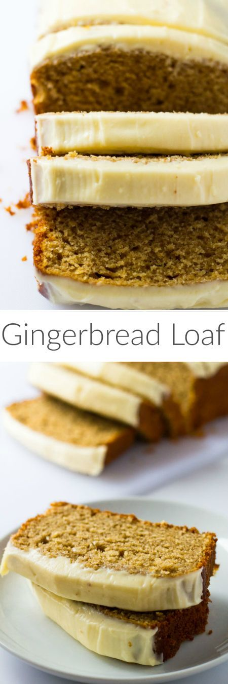 Deliciously moist gingerbread spiced loaf cake topped with thick cream cheese frosting!