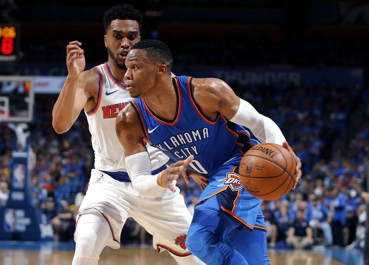 Oklahoma City's Russell Westbrook (0) goes past New York's Courtney Lee (5) during an NBA basketball game between the Oklahoma City Thunder and the New York Knicks at Chesapeake Energy Arena in Oklahoma City, Thursday, Oct. 19, 2017. Oklahoma City won 105-84. Photo by Bryan Terry, The Oklahoman