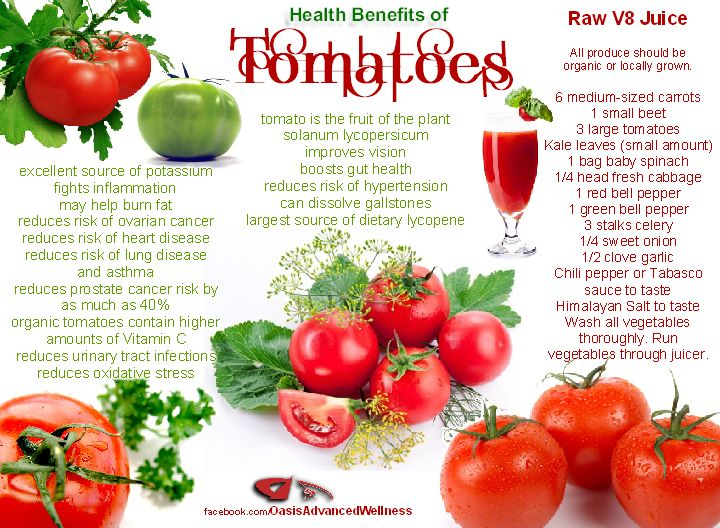 Health Benefits of Tomatoes & Raw V-8 recipe...build that immune system up with this recipe! I often make it without my juicer. I just throw all this into my Vitamix with some good purified water.