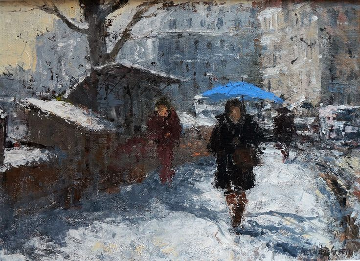 BLUE UMBRELLA ON THE QUAI DES GRANDS AUGUSTINS, PARIS BY GERALD GREEN  Original Oil on Board, 10 X 14 Inches, Signed and Inscribed Verso, Acquired Direct from the Artist  Price: £650  BUY ONLINE WITH CONFIDENCE  OWN ART AVAILABLE - 10% deposit with 10 monthly instalments Interest Free