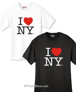 Official I Love NY T-Shirts. This is the I Love NY shirt everyone wants. Let everyone know you love New York City with this popular I Love New York t-shirt featuring the famous logo - I heart NY. Top-quality, fully licensed I Love NY t-shirt is made of pre-shrunk 100% cotton. I Love NY T-Shirts available in white or black. The most popular New York shirt. Great NY gifts, add to your I Love NY party or New York gift basket.