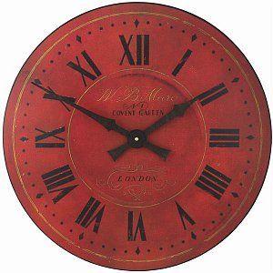 Červené nástěnné hodiny - Cihlové