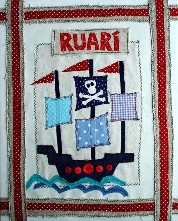 "Pirate Ship Textile Art for Boy.  Custom Name Canvas. Nursery Wall Art, New Baby Keepsake, Christening, Baptism Gift Idea. 16""x20"""