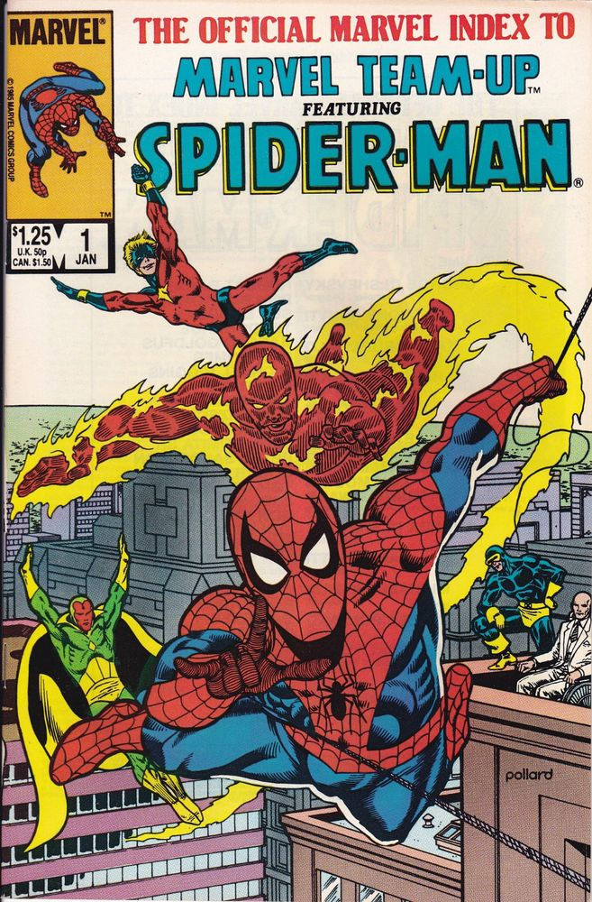 Lot of 6 Marvel Comics Official Index To Marvel Team-Up Spider-Man