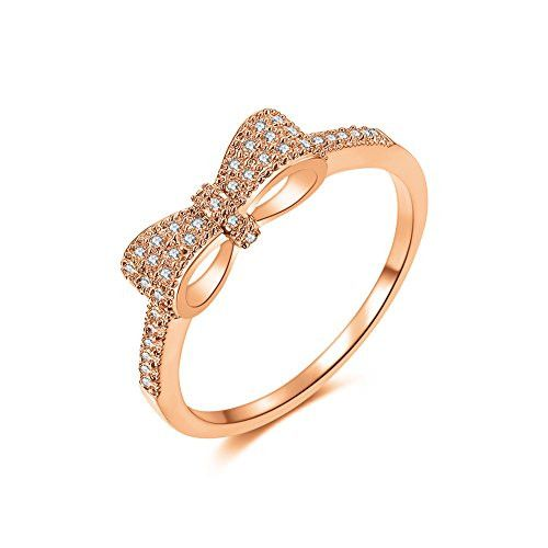 3 Tones Cute Bow Knot Design Tiny CZ Diamond Paved 5mm Engagement Rings for Girls Women, Size 5.5 to 9