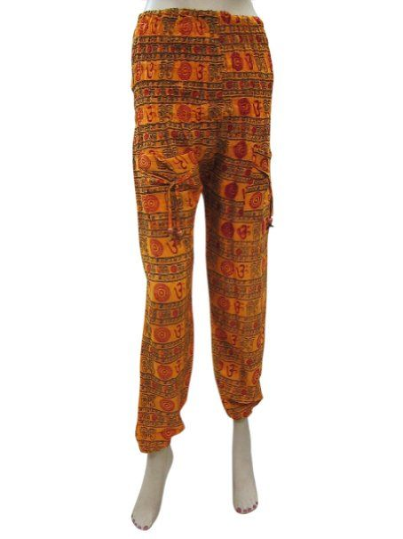 Amazon.com: Hippie Harem Pants Orange Om Printed Baggy Pant Bohemian Clothing: Clothing