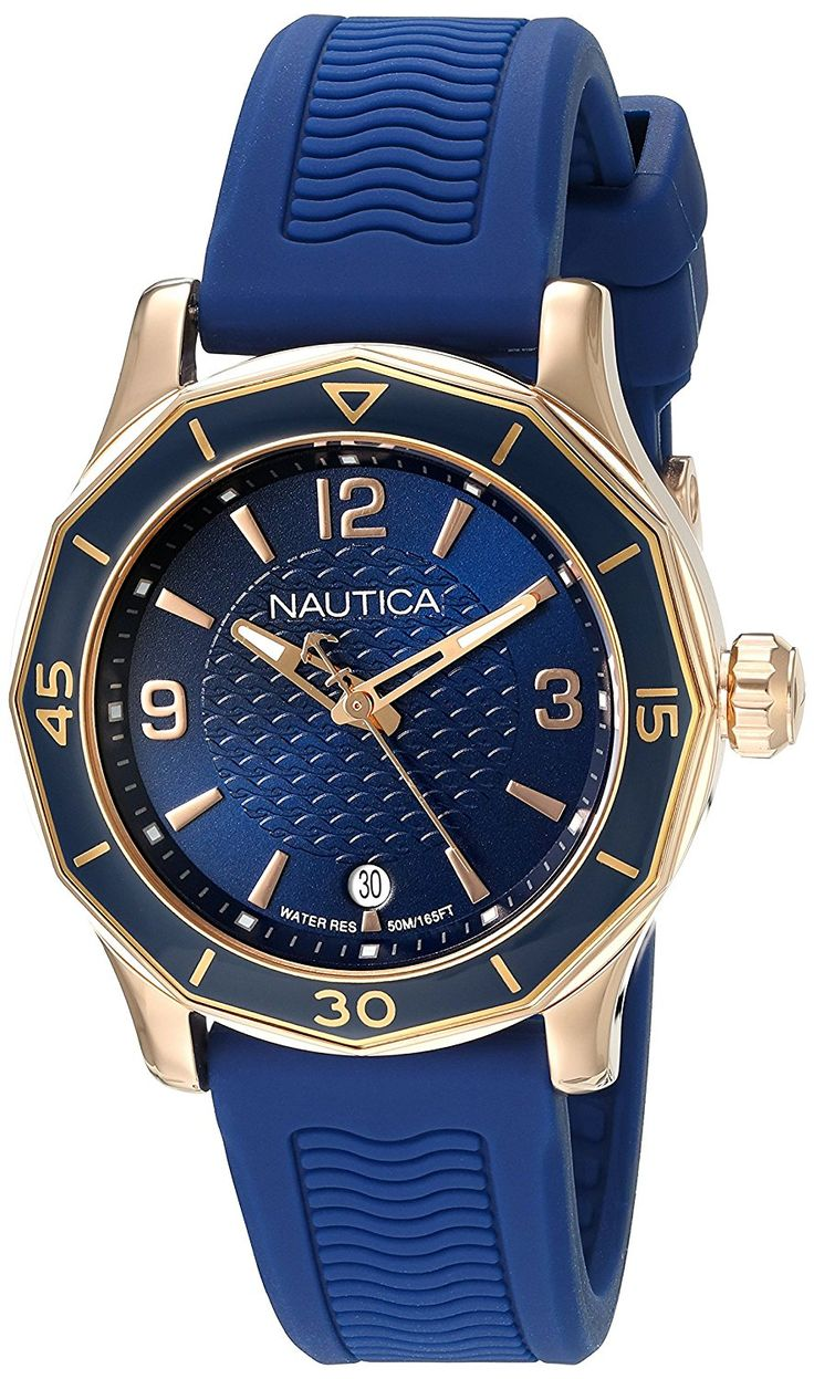 Nautica Women's 'NWS 01' Quartz Stainless Steel and Silicone Casual Watch, Color:Blue (Model: NAD13525L) >>> Read more reviews of the watch by visiting the link on the image.