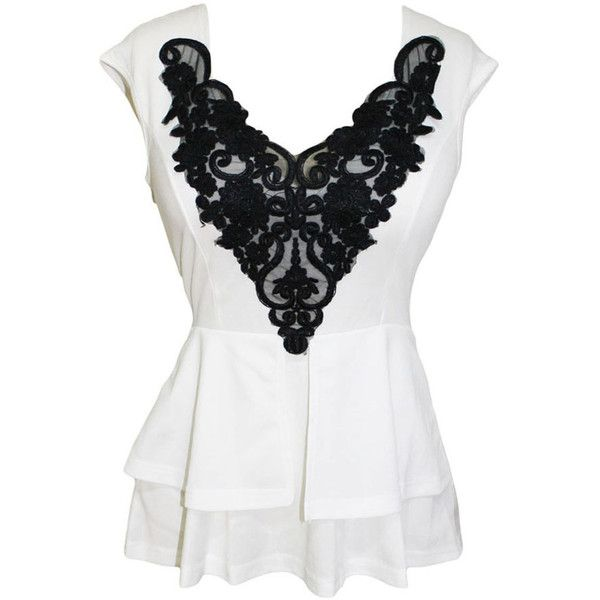 White Sleeveless Black Lace Overlay Peplum Blouse (£17) ❤ liked on Polyvore featuring tops, blouses, shirts, tank tops, white, party blouses, white sleeveless top, white peplum top, going out shirts and party shirts