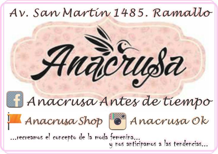 FACEBBOK: ANACRUSA ANTES DE TIEMPO FANPAGE: ANACRUSA SHOP INSTAGRAM: ANACRUSAOK