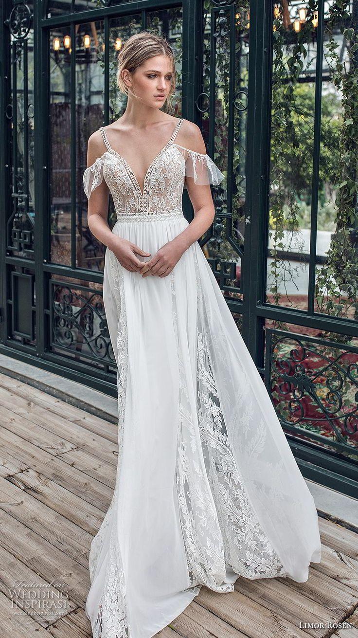limor rosen 2019 xo bridal cold shoulder thin strap deep sweetheart neckline hea…
