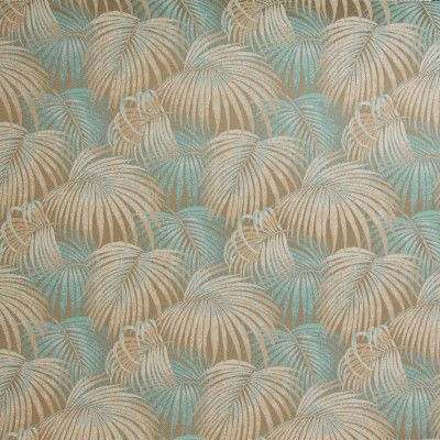 B4133 Oceanic Fabric: D36, OUTDOOR FABRIC, BLUE PALM LEAF, BLUE PALM LEAVES, LIGHT BLUE PALM LEAVES, BROWN PALM LEAVES