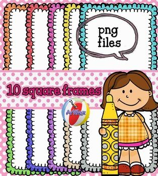 Here's a collection of 10frames. 300 dpi and transparent backgrounds (png).This clipart license allows for personal, educational, and commercial small business use. If using commercially, or in a freebie, credit to my store by a link is required and appreciated.