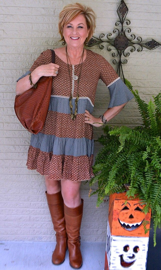 50 IS NOT OLD   LITTLE HOUSE ON THE PRAIRIE STYLE   Dress + Boots   Fall   Fashion over 40 for the everyday woman   #plunder #rodanandfields #glowing