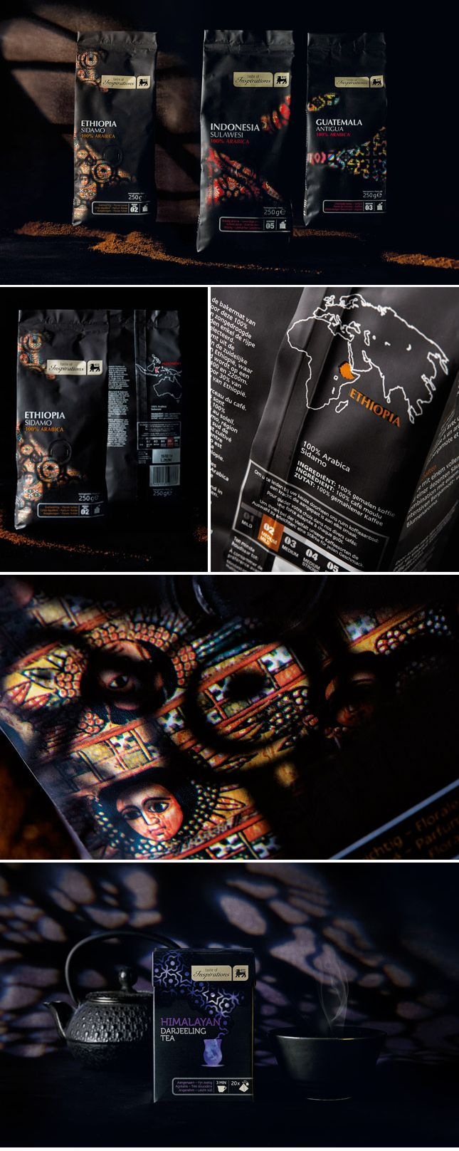 Delhaize, Taste Of Inspirations. A packaging design which reveals the world of real authentic premium coffee. Inspired by colorful patterns created by light shining through stained glass, we created a mystic feeling. With this visual idea we created an atmospheric aroma by combining ethnicity and mysticity. www.quatremains.be