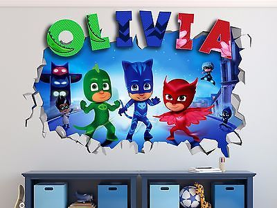 Best Pj Masks Custom Name 3D Wall Decal Kids Sticker Decor 400 x 300