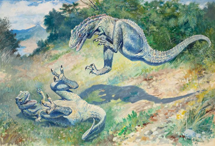 "Charles R. Knight, ""Laelaps"" (1897), the predators may represent paleontologists Othniel C. Marsh and Edward Drinker Cope, whose intense competition defined early American paleontology (courtesy American Museum of Natural History)"