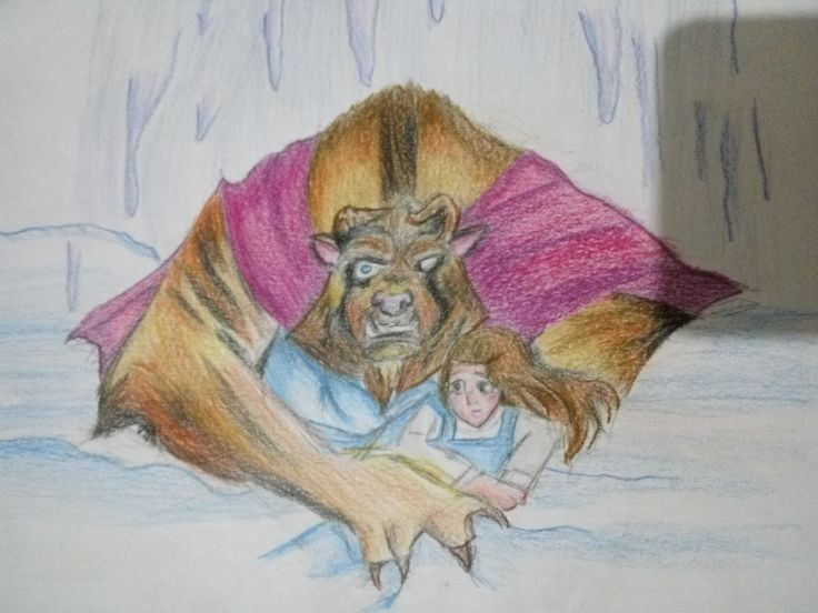 beauty and the beast protect belle from heavy snow #beauty&beast #disney #arts