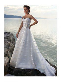 straples balayage train satiné & organza robes de mariage de plage