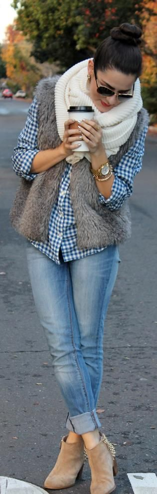 Casual Look; Light Skinnies, Knit Infinity Scarf, Gingham, Faux Fur Vest, Gold Accessories NEED THESE BOOTS: