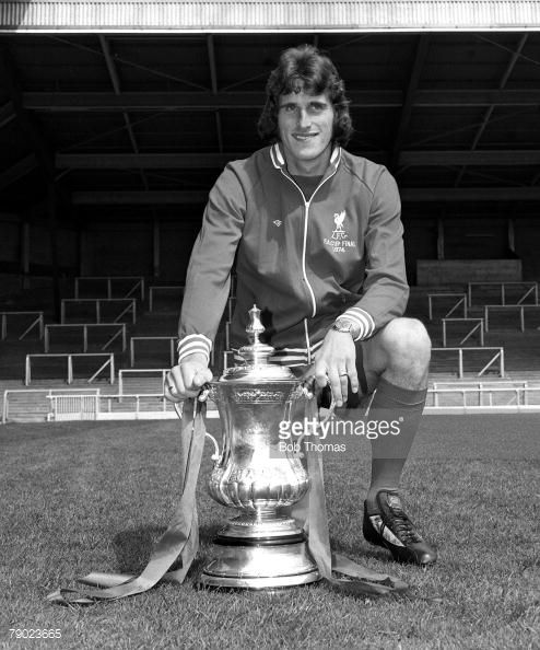 Sport Football England August 1974 Liverpool FC Photocall Liverpool FC goalkeeper Ray Clemence is pictured with the FA Cup trophy that his side won against Newcastle United