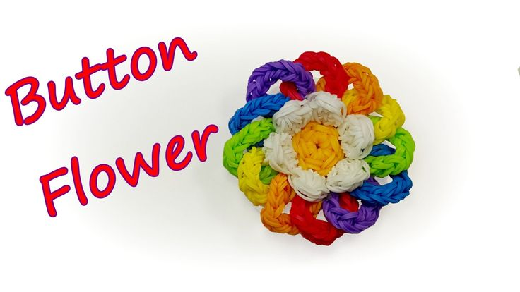 Button (pin back) Flower Tutorial by feelinspiffy (Rainbow Loom)