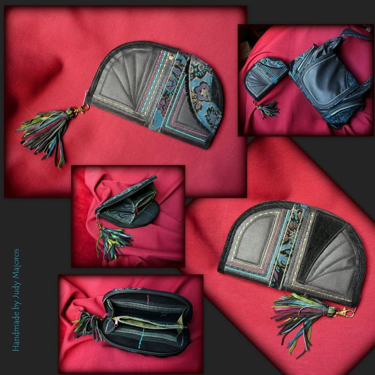 Handmade by Judy Majoros -Black fringe wallet-clutch-Recycled bag.