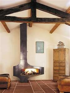 wood stove + sitting + tea-drinking area.