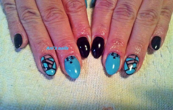 Blue black nails