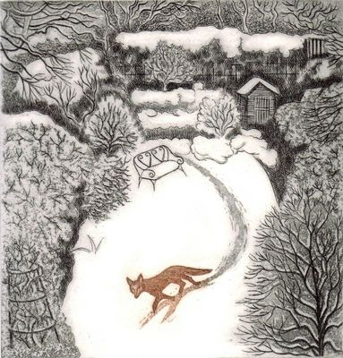 "Elaine Marshall  ~  ""fox in winter""  (etching)"
