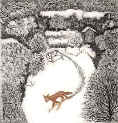 Fox in Winter - Elaine Marshall painting