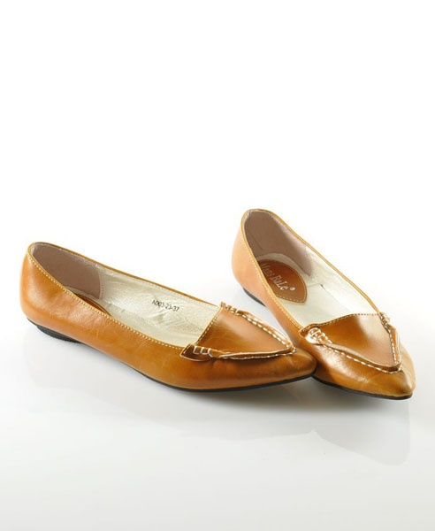 Light Brown Vintage PU Flat Shoes