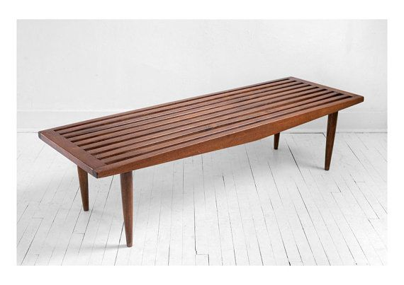 Vintage Slatted Wood Coffee Table - Mid Century, Bench, Modern, Table, Retro