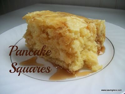 Pancake Squares! Fluffy pancake flavor, without having to stand at the stove cooking for everyone while your tummy is growling, too. Sounds good to me!