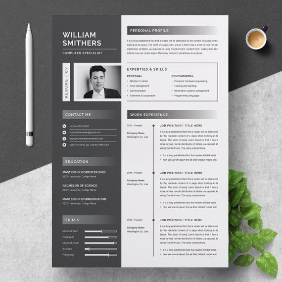 A4 Resume Template Etsy Resume Template Resume Design Templates