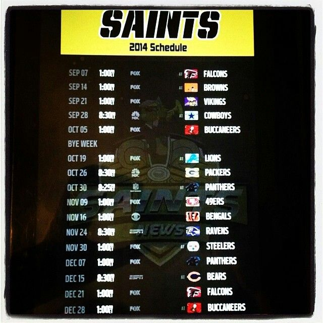 2014 New Orleans Saints Schedule
