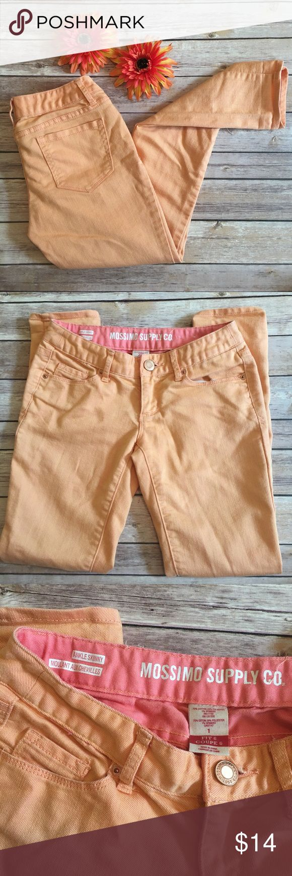 "Mossimo Peach Skinny Jeans Mossimo peach colored skinny jeans. Slight stretch and comfortable fit. Good used condition with no flaws or damages. Measurements laying flat: 27"" inseam, 12.5"" waist, 6.5"" front rise.                                                                                   ▫️No trades ▫️Reasonable offers welcomed (through offer button only) ▫️I'm unable to model ▫️Bundle to save! Mossimo Supply Co. Jeans Skinny"