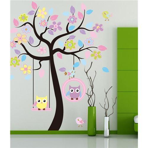 Stort träd Ugglor Väggdekor Barn