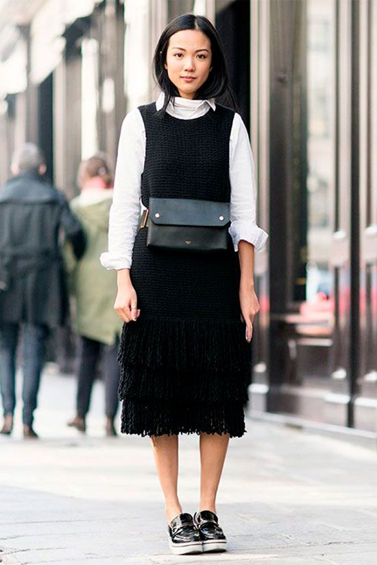 3105925ea426 Sleek Ways To Style The Modern Fanny Pack: Woman wearing a black sleeveless  midi dress over a white shirt, black platform loafer and a black belt bag.