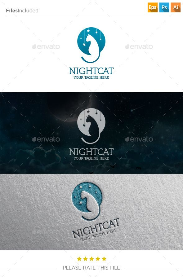 Night Cat Logo Template PSD, Vector EPS, AI #logotype Download: http://graphicriver.net/item/night-cat-logo/11250287?ref=ksioks