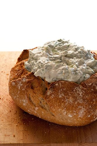 Cob loaf with philly cheese and spinach dip. . .sounds yummy.